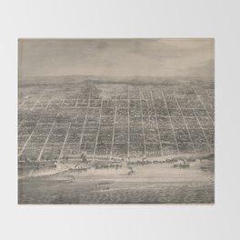 Vintage Pictorial Map of Louisville KY (1860) Throw Blanket