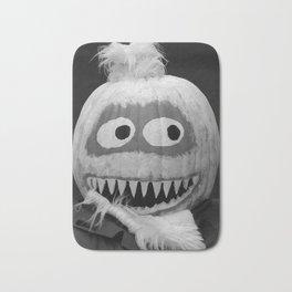 Quirky Pumpkin Head - bw Bath Mat