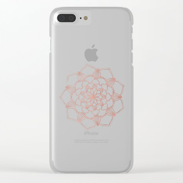 Mandala Bloom Rose Gold on Cream Clear iPhone Case