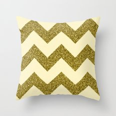 Chevron Gold Throw Pillow