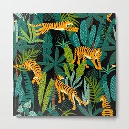 Tigers In The Jungle Metal Print