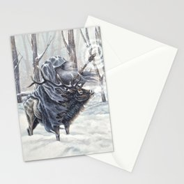 Wizard Riding an Elk in the Snow Stationery Cards