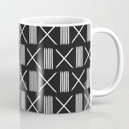 Mudcloth xs and lines black Coffee Mug