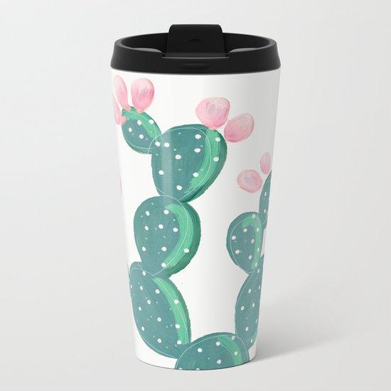 Painted Cactus Metal Travel Mug