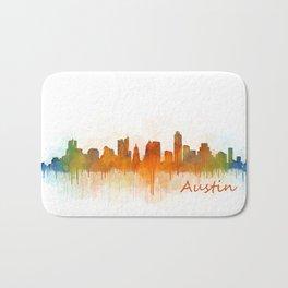 Austin Texas, City Skyline, watercolor  Cityscape Hq v3 Bath Mat