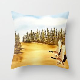 Canada geese on golden lake. Throw Pillow