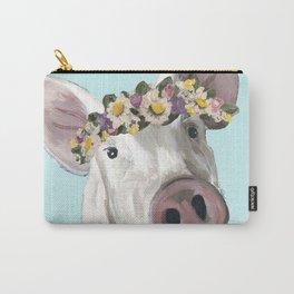 Flower Crown Pig, Farm Animal Art Carry-All Pouch