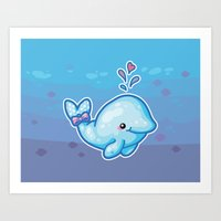 polkadot Art Prints featuring PolkaDot Whale by Byte Size Treasure