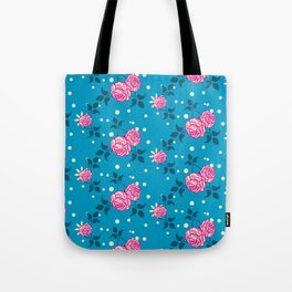 Roses on blue Tote Bag