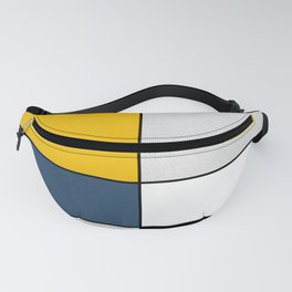 Geometric modern yellow blue gray white black pattern Fanny Pack