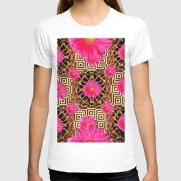 Fuchsia Gerbera Daisy Flowers & Black Gold Patterns T-shirt