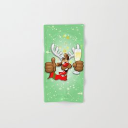 Reindeer Drunk Funny Christmas Character Hand & Bath Towel