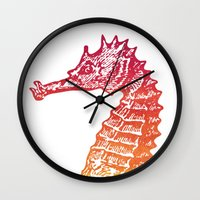 seahorse Wall Clocks featuring Red & Orange Seahorse by Aloke Design