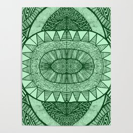 Grassy Green Tangled Mania Pattern Doodle Design Poster