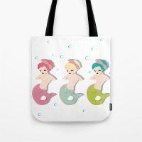 mermaids Tote Bags featuring Mermaids by Judy Oliva