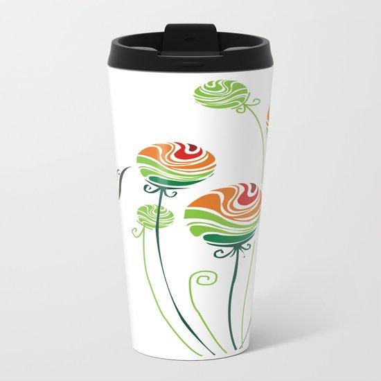 Hummingbird And Flowers Metal Travel Mug
