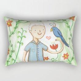 Sir David Attenborough & a Parrot Rectangular Pillow