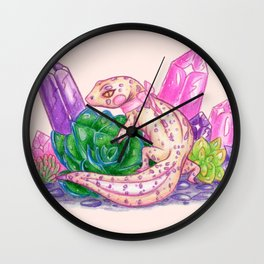 Pastel Leopard Gecko with Crystals and Succulents Wall Clock