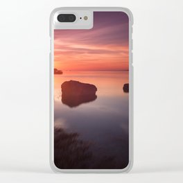 Loughor Estuary sunset Clear iPhone Case