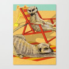Meerkat's Day at the Beach  Canvas Print