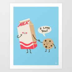 Cookie Loves Milk Art Print