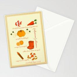 Colors: orange (Los colores: naranja) Stationery Cards