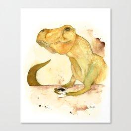 T-Rex Morning Coffee Canvas Print