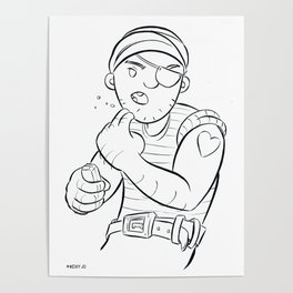 Stowaway Pirate - ink Poster