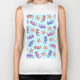 Cute Girly Watercolor Sea Horses and Starfish Summer Pattern Biker Tank