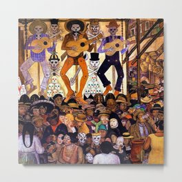 Classical Masterpiece 'Le-Jour-des-Morts' by Diego Rivera Metal Print