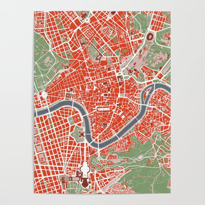 Rome city map classic Poster by planosurbanos