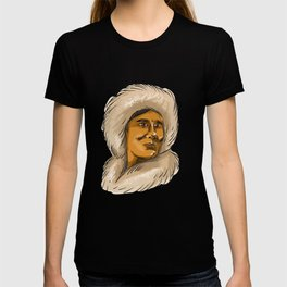 Eskimo Inuit Hooded Parka Watercolor T-shirt