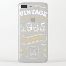 32nd-Birthday-Gift-Gold-Vintage-1985-Aged-Perfectly Clear iPhone Case