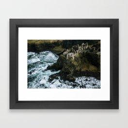 Castle ruin by the irish sea - Landscape Photography Framed Art Print