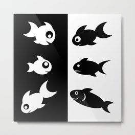 Black and White Fishes Metal Print