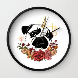 Sparkly Flowers Puggicorn Wall Clock