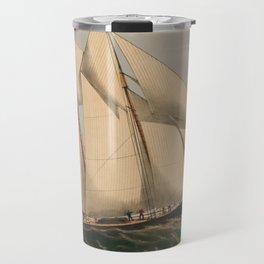 Vintage Illustration of a Schooner Sailboat (1867) Travel Mug