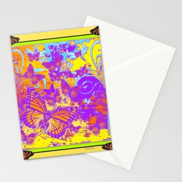 Purple Monarch  Butterflies  Surrealism Yellow Art Stationery Cards