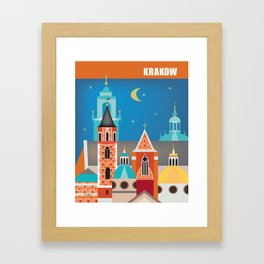 Krakow, Poland - Skyline Illustration by Loose Petals Framed Art Print