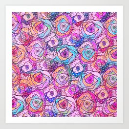 Watercolour & Rainbow Ink Flowers , Colorful Floral Painting Art Print
