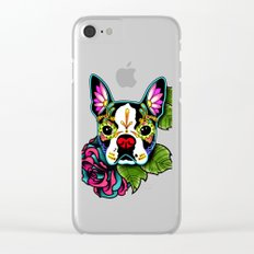 Day of the Dead Boston Terrier Sugar Skull Dog Clear iPhone Case
