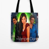 vampire diaries Tote Bags featuring The Vampire Diaries by Don Kuing