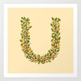Leafy Letter U Art Print
