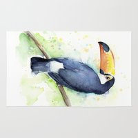 toucan Area & Throw Rugs featuring Toucan by Olechka