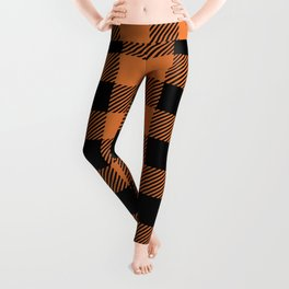 Buffalo Plaid - Orange & Black Leggings