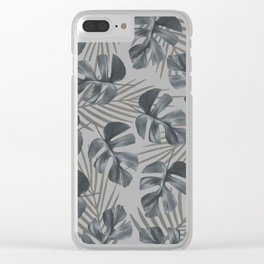 Monstera leaves Palm leaves grey Clear iPhone Case