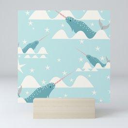 narwhal in ocean Mini Art Print