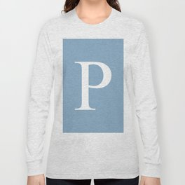 Letter P sign on placid blue background Long Sleeve T-shirt