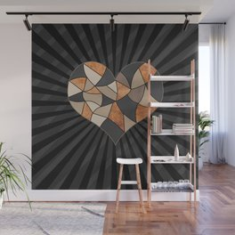 Heart Patchwork patches break heart pieces Wall Mural