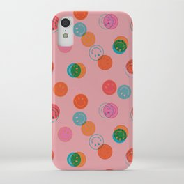 Smiley Face Stamp Print in Pink iPhone Case